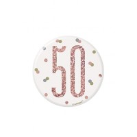 "Rose Gold Glitz Foil Age 50 Badge 3"" 1CT"