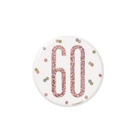 "Rose Gold Glitz Foil Age 60 Badge 3"" 1CT"