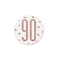 "Rose Gold Glitz Foil Age 90 Badge 3"" 1CT"