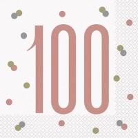 Rose Gold Glitz Age 100 Luncheon Napkins 16ct