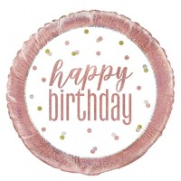 "Rose Gold Glitz 18"" Happy Birthday Prism Foil Balloon"