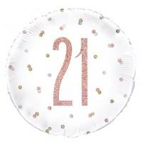 "Rose Gold Glitz 18"" Age 21 Prism Foil Balloon"