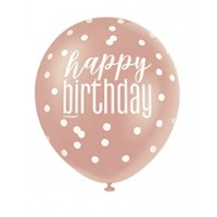 "Rose Gold Glitz 12"" Happy Birthday Latex Balloons 6ct"