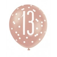"Rose Gold Glitz 12"" Age 13 Latex Balloons 6ct"