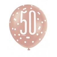 "Rose Gold Glitz 12"" Age 50 Latex Balloons 6ct"