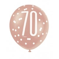 "Rose Gold Glitz 12"" Age 70 Latex Balloons 6ct"