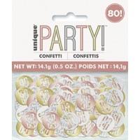 Rose Gold Glitz Foil Age 80 Confetti 0.5 oz
