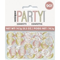 Rose Gold Glitz Foil Age 90 Confetti 0.5 oz
