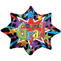 "Colourful Burst Grad - 28"" Foil Balloon"
