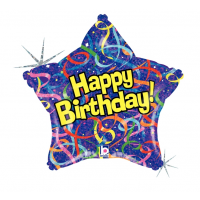 """Happy Birthday - Streamers and Confetti Star Shaped 18"""" Foil Balloon"""