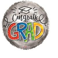 """Congrats Grad Silver 18"""" Foil Balloon"""