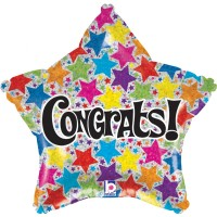 "Congrats Star Shaped 18"" Foil Balloon"