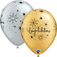 "Congratulations Gold and Silver 11"" Round Latex - 25ct"
