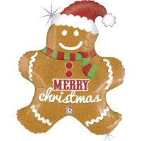 "Gingerbread Christmas 31"" Foil Balloon"