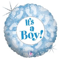 "It's a Boy Footprints 18"" Foil Balloon"