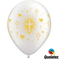 "Cross & Doves 11"" Pearl White Balloon (50ct)"