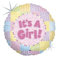 """It's a Girl Patchwork 18"""" Foil Balloon"""