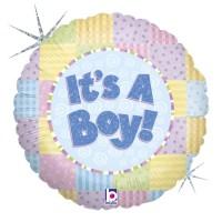"It's a Boy Patchwork 18"" Foil Balloon"