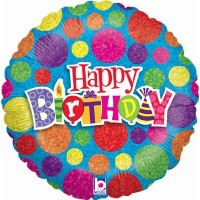 "Happy Birthday Multi-Coloured Dots 18"" Foil Balloon"