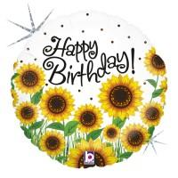 """Sunny Sunflowers Birthday Holog. 18"""" foil Balloon"""