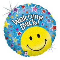 "Blue Welcome Back Stars and Smiley Face18"" Foil Balloon"
