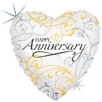 "Happy Anniversary Filigree 18"" Foil Balloon"