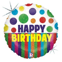 """Happy Birthday Dots and Stripes GRABO 18"""" Foil; Balloon"""