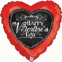 "Chalkboard Script Valentine Holographic - 18"" Foil Balloon"