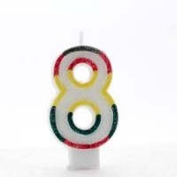 Age 8 Multi Colour Candle Neutral (Pack of 6)