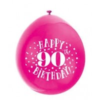 "Happy 90th Birthday 9"" Latex Air Fill Balloon - Assorted Colours, Printed 1 Side - 10ct."