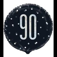 """Black/Silver Glitz 18"""" Foil Age 90 Prism Foil Balloon"""