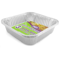 Square Foil Oven Dishes 205x205x50mm 3pcs