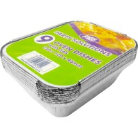 Small Foil Oven Dishes and Lids 150x120x46mm 9pcs