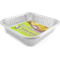 Square Foil Oven Dishes 222X222X46mm 3pcs