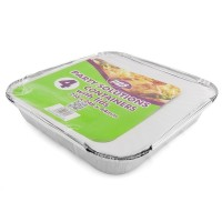 Square Foil Containers and Lids 248x248x44mm 4pcs