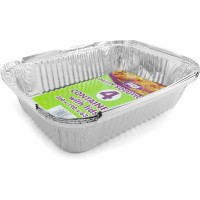 Rectangle Foil Containers and Lids 260x190x63mm 4pcs