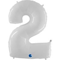 """Number 2 Shiny White 40"""" Foil Balloon GRABO"""