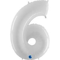 """Number 6 Shiny White 40"""" Foil Balloon GRABO"""
