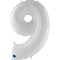 """Number 9 Shiny White 40"""" Foil Balloon GRABO"""