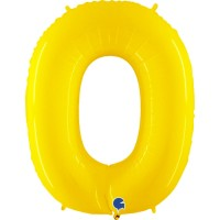 """Number 0 Shiny Yellow 40"""" Foil Balloon"""