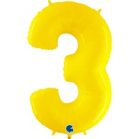 """Number 3 Shiny Yellow 40"""" Foil Balloon"""