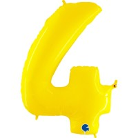 """Number 4 Shiny Yellow 40"""" Foil Balloon"""