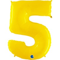"""Number 5 Shiny Yellow 40"""" Foil Balloon"""