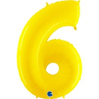 """Number 6 Shiny Yellow 40"""" Foil Balloon"""
