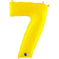 """Number 7 Shiny Yellow 40"""" Foil Balloon"""