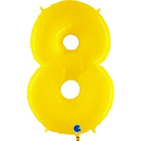 """Number 8 Shiny Yellow 40"""" Foil Balloon"""