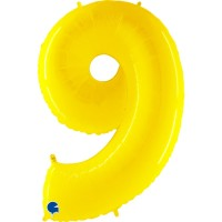 """Number 9 Shiny Yellow 40"""" Foil Balloon"""