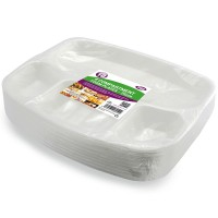 White Plates With Four Compartments 25cm 10pcs