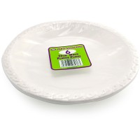 White Plastic Plates 26cm 6pcs