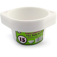 White Plastic Bowls with Handles 12oz 15pcs
